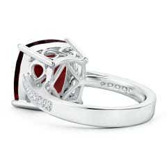 Toggle GIA Certified Cushion Garnet Reverse Tapered Shank Ring