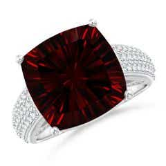 GIA Certified Cushion Garnet Ring with Pave-Set Diamonds