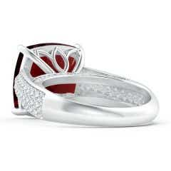 Toggle GIA Certified Cushion Garnet Ring with Pave-Set Diamonds