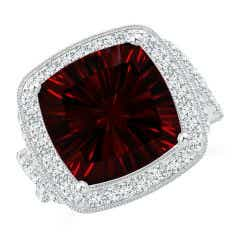 GIA Certified Cushion Garnet Twisted Infinity Ring