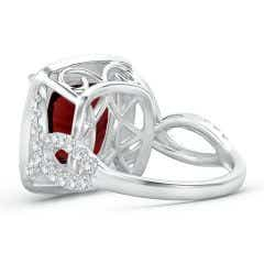 Toggle GIA Certified Cushion Garnet Twisted Infinity Ring