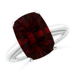 GIA Certified Rectangular Cushion Garnet Solitaire Ring