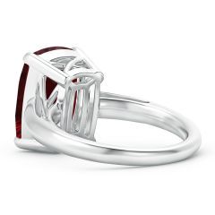 Toggle GIA Certified Rectangular Cushion Garnet Solitaire Ring