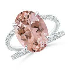 Solitaire Oval Morganite Split Shank Ring with Pave Diamonds