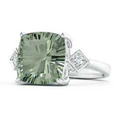 GIA Certified Cushion Green Amethyst Ring with Diamonds