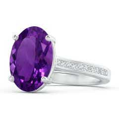 Classic GIA Certified Oval Amethyst Solitaire Ring - 4.3 CT TW
