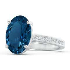 Classic GIA Certified Oval London Blue Topaz Solitaire Ring - 7.73 CT TW