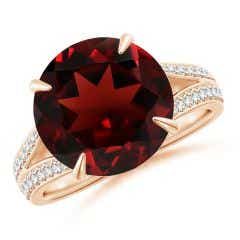 Claw-Set Round Garnet Split Shank Ring