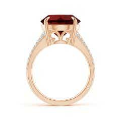 Toggle Claw-Set Round Garnet Split Shank Ring