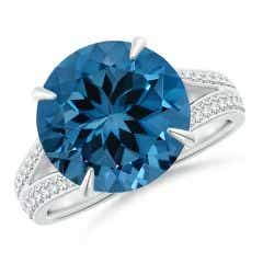 Claw-Set GIA Certified London Blue Topaz Split Shank Ring