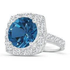 GIA Certified London Blue Topaz Cushion Halo Ring