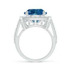Toggle GIA Certified London Blue Topaz Cushion Halo Ring