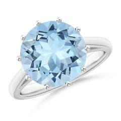 Vintage Style Round Aquamarine Solitaire Ring