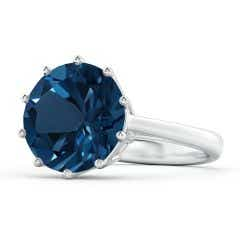 Vintage Style GIA Certified London Blue Topaz Solitaire Ring