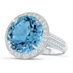 Classic GIA Certified Sky Blue Topaz Halo Ring with Diamonds