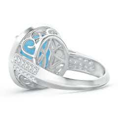 Toggle Classic GIA Certified Sky Blue Topaz Halo Ring with Diamonds