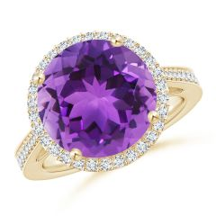 Classic Round Amethyst Halo Ring with Diamonds