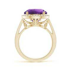 Toggle Classic Round Amethyst Halo Ring with Diamonds