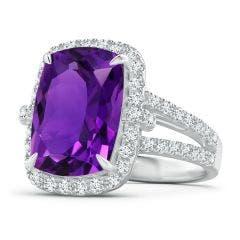 GIA Certified Rectangular Cushion Amethyst Halo Ring