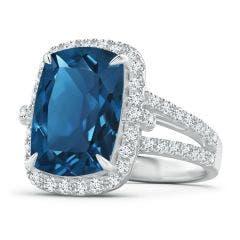 GIA Certified Rectangular Cushion London Blue Topaz Halo Ring