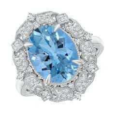 Toggle Vintage Inspired GIA Certified Oval Aquamarine Cocktail Ring - 3.4 CT TW