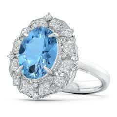 Vintage Inspired GIA Certified Oval Aquamarine Cocktail Ring - 3.4 CT TW