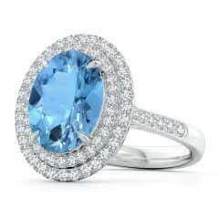 GIA Certified Oval Aquamarine Ring with Double Halo - 3.8 CT TW