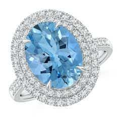 Toggle GIA Certified Oval Aquamarine Ring with Double Halo - 3.8 CT TW