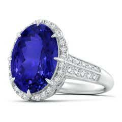 GIA Certified Oval Tanzanite Knife Edge Shank Halo Ring - 8.6 CT TW