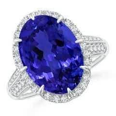 Toggle GIA Certified Oval Tanzanite Knife Edge Shank Halo Ring - 8.6 CT TW