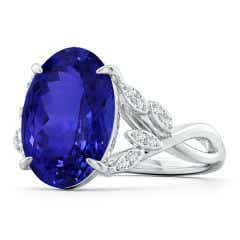 GIA Certified Oval Tanzanite Leaf Motif Ring with Diamonds - 8.1 CT TW