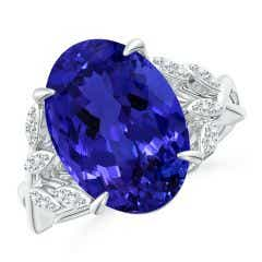 Toggle GIA Certified Oval Tanzanite Leaf Motif Ring with Diamonds - 8.1 CT TW