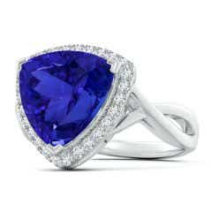 Toggle GIA Certified Trillion Tanzanite Criss Cross Ring with Halo - 8.1 CT TW
