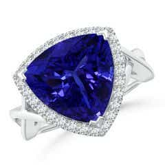 GIA Certified Trillion Tanzanite Criss Cross Ring with Halo - 8.2 CT TW