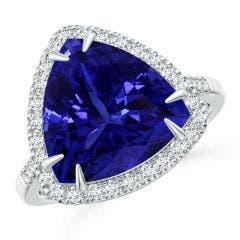 GIA Certified Trillion Tanzanite Ring with Diamond Halo - 8.2 CT TW