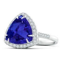 Toggle GIA Certified Trillion Tanzanite Ring with Diamond Halo - 8.2 CT TW