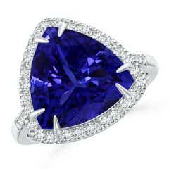 GIA Certified Trillion Tanzanite Ring with Diamond Halo - 8.3 CT TW
