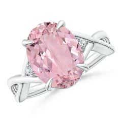 GIA Certified Oval Pink Morganite Criss Cross Ring - 3.72 CT TW