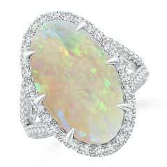 GIA Certified Oval Opal Split Shank Ring with Diamond Halo - 5.4 CT TW