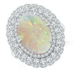 GIA Certified Oval Opal Ring with Diamond Triple Halo - 4.9 CT TW