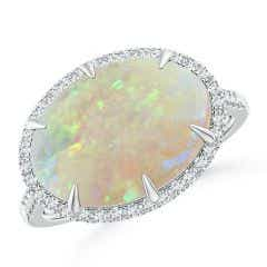 East-West GIA Certified Oval Opal Ring with Diamond Halo - 3.84 CT TW