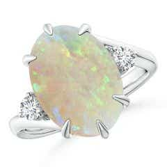 GIA Certified Oval Opal Bypass Ring with Diamonds - 3.73 CT TW