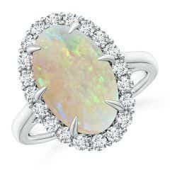 GIA Certified Oval Opal Ring with Diamond Halo - 4.57 CT TW