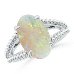 GIA Certified Oval Opal Ring with Beaded Split Shank - 3.87 CT TW