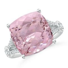 GIA Certified Cushion Pink Morganite Split Shank Ring - 9.3 CT TW