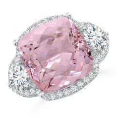 GIA Certified Cushion Pink Morganite Halo Ring with Diamonds - 10.4 CT TW