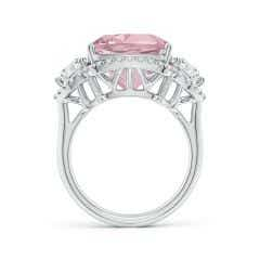 Toggle GIA Certified Cushion Pink Morganite Halo Ring with Diamonds - 10.4 CT TW
