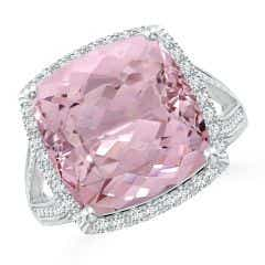 GIA Certified Cushion Pink Morganite Halo Ring in Two Tone - 9.5 CT TW
