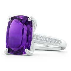 GIA Certified Rectangular Cushion Amethyst Ring with Diamonds - 7 CT TW