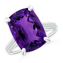 Toggle GIA Certified Cushion Amethyst Ring with Diamonds - 7 CT TW